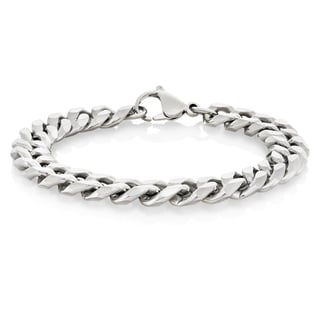 Crucible Stainless Steel Beveled Curb Chain Bracelet - 8.5 inches (11 mm)