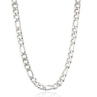 Crucible Stainless Steel 24-inch Figaro Chain Necklace