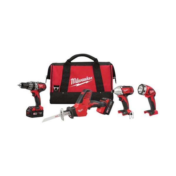 Milwaukee 2695-24 M18 18-Volt Lithium-Ion Cordless Hammer Drill/Hackzall/Impact Driver/Light Combo Kit (4-Tool)