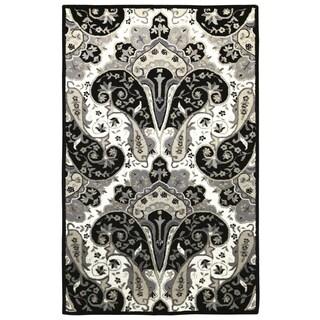 Black Paisley Wave (4'x6') Wool Rug