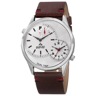 August Steiner Men's Quartz Dual-Time Leather Silver-Tone Strap Watch