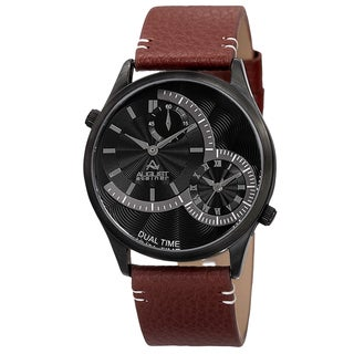 August Steiner Men's Quartz Dual-Time Leather Black Strap Watch