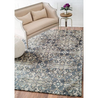 nuLOOM Contemporary Floral Damask Denim Rug (9' x 12')