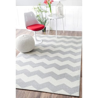 nuLOOM Geometric Chevron Kids Grey Rug (9' x 12')