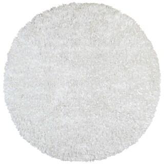 White Shimmer Shag (3'x3') Round Rug