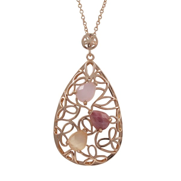 Sterling Silver Rose Gold Finish Cubic Zirconia and Gemstone Teardrop Pendant Necklace