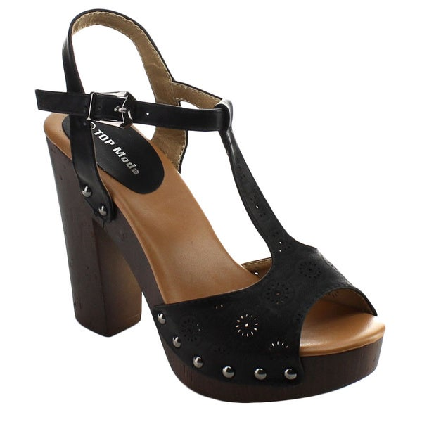 Top Moda WOODEN-1 Women's Ankle Strap T-Strap Chunky Heel Platform Sandals