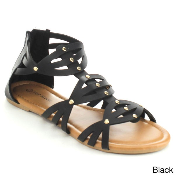 Top Moda HL-53 Women's Gladiator Style Criss Cross Studded Flat Sandals