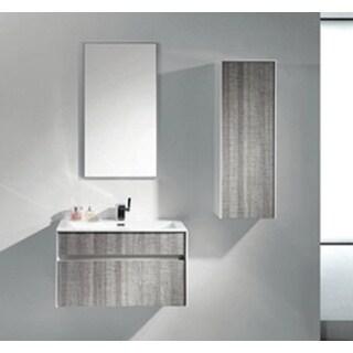 "Eviva Ashy 36"" Wall Mount Modern Bathroom Vanity Set High Gloss Ash Gray (Grey) with White Integrated Sink"