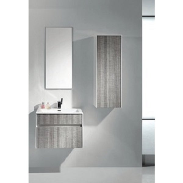 "Eviva Ashy 24"" Wall Mount Modern Bathroom Vanity Set High Gloss Ash Gray (Grey) with White Integrated Sink"