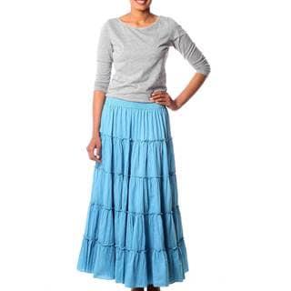 Cotton 'Sky Blue Frills' Skirt (India)