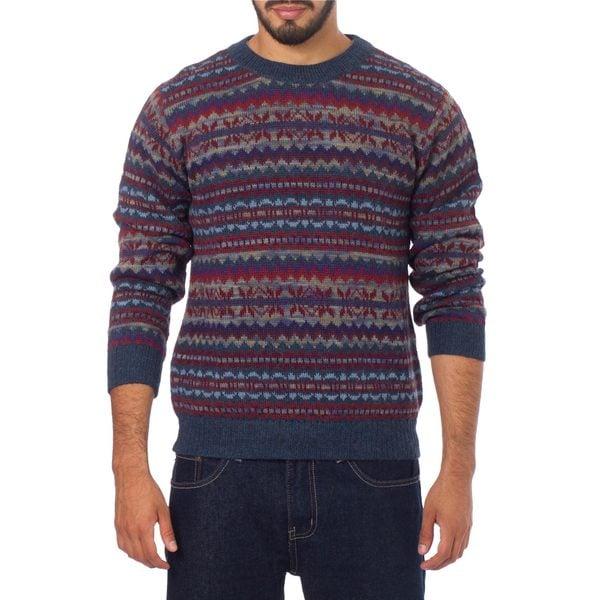 Men' Alpaca 'Colca Blue' Sweater (Peru)