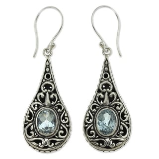Handcrafted Sterling Silver 'Balinese Dew' Topaz Earrings (Indonesia)