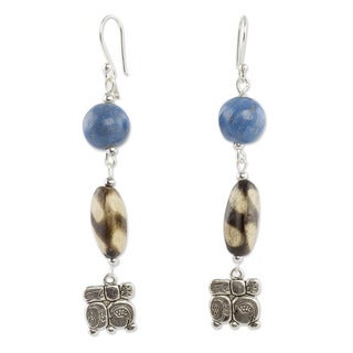 Sterling Silver Ceramic 'Nahual Destiny' Dangle Earrings (Honduras)