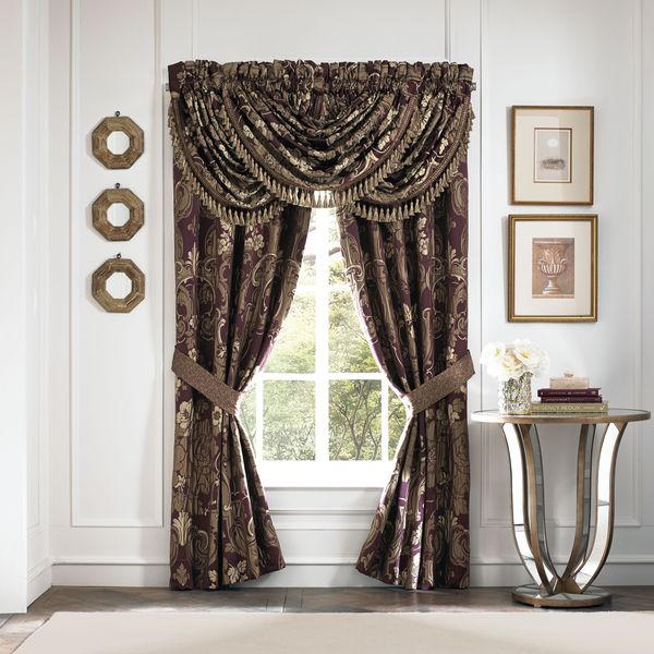 SB Croscill Home Everly Plum and Gold Pole Top Drapery