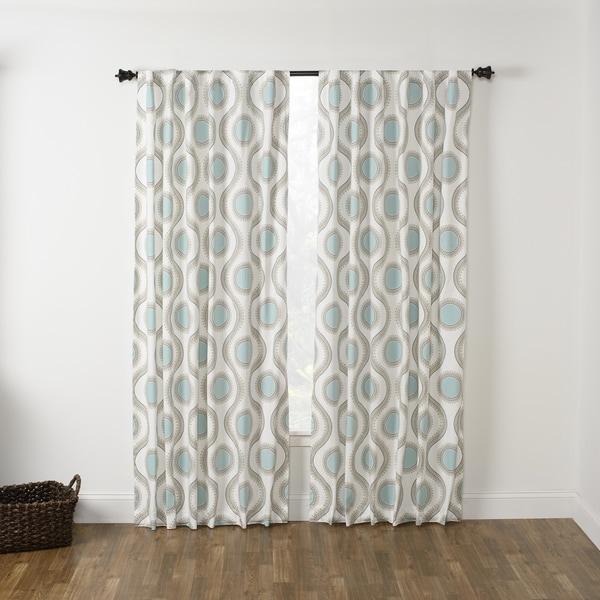 Viola Seafoam Rod Pocket Curtain Panel