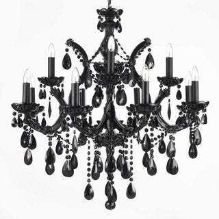 Black All Crystal 2 Tier Chandelier