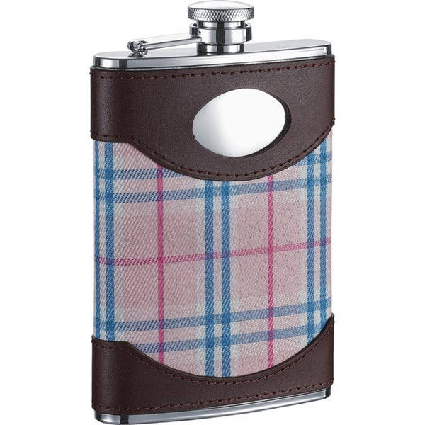 Visol Lola Leather & Pink Plaid Liquor Flask - 8 ounces 16530084