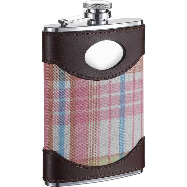 Visol Hannah Leather & Pink Plaid Liquor Flask - 8 ounces 16530085