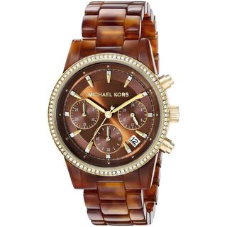 Michael Kors Women's MK6279 'Ritz' Chronograph Crystal Brown Resin Watch