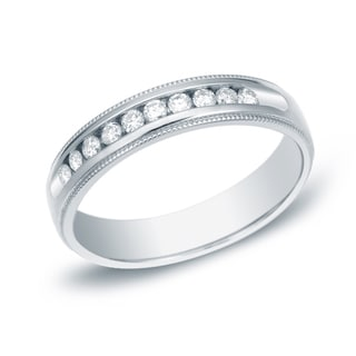 Auriya 14k Gold 1/4ct TDW Milgrain Round-Cut Diamond Channel Band (H-I, SI1-SI2)