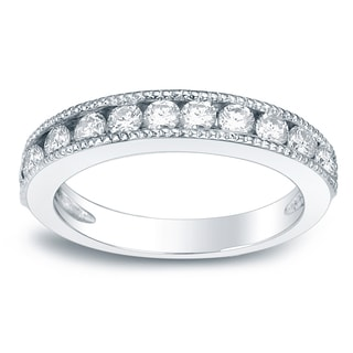 Auriya 14k Gold 3/4ct TDW Round-Cut Diamond Milgrain Channel Band (H-I, SI1-SI2)