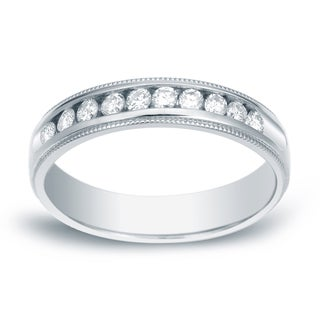 Auriya 14k Gold 1/2ct TDW Milgrain Round-Cut Diamond Channel Band (H-I, SI1-SI2)