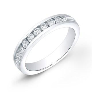 Auriya 14k Gold 1/4ct TDW Round-Cut Diamond Channel Band (H-I, SI1-SI2)