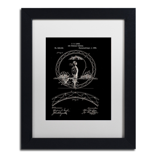 Claire Doherty 'One Wheeled Vehicle Patent 1885 Black' White Matte, Black Framed Wall Art