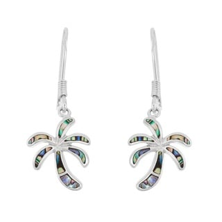 La Preciosa Sterling Silver Abalone Palm Tree Dangle Earrings