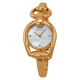 Gucci Women's YA139508 'Horsebit' Diamond Rose-Tone Stainless Steel Watch