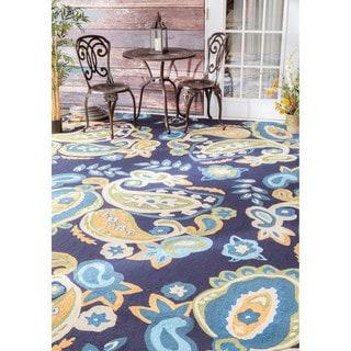 nuLOOM Handmade Bold Paisley Indoor/ Outdoor Blue Rug (8' x 10')