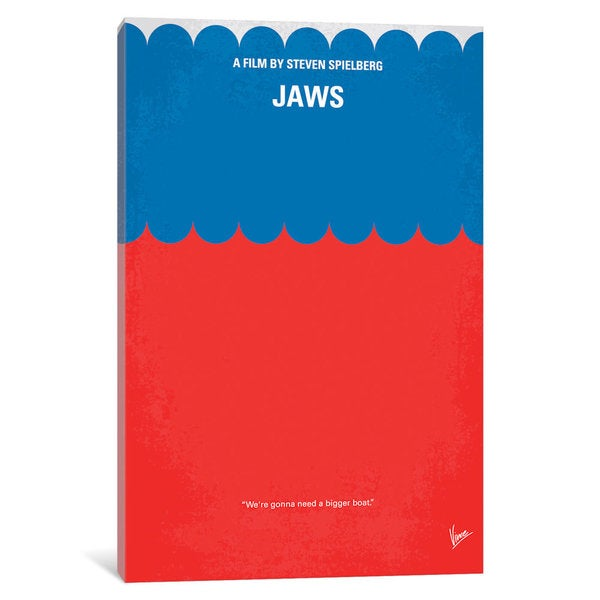 iCanvas Jaws Minimal Movie Poster by Chungkong Canvas Print