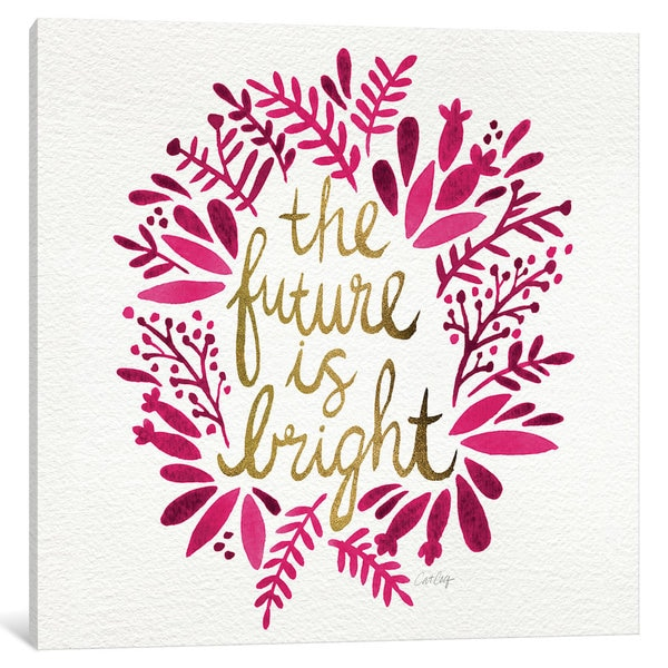 iCanvas Bright Future Pink Artprint by Cat Coquillette Canvas Print