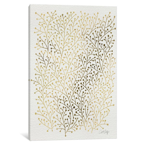 iCanvas Berry Branches Gold Artprint by Cat Coquillette Canvas Print
