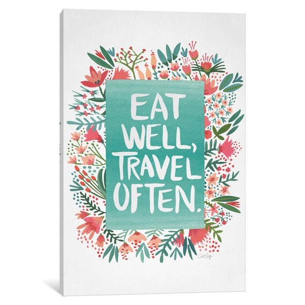 iCanvas Eat Travel White Artprint by Cat Coquillette Canvas Print