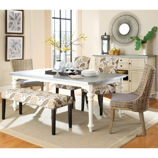 La Merenda Tropical Magazine Inspired Design Metal Top Dining Set