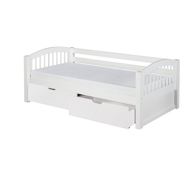 Camaflexi Twin-size White Finish Day Bed with Drawers and Arch Spindle Headboard