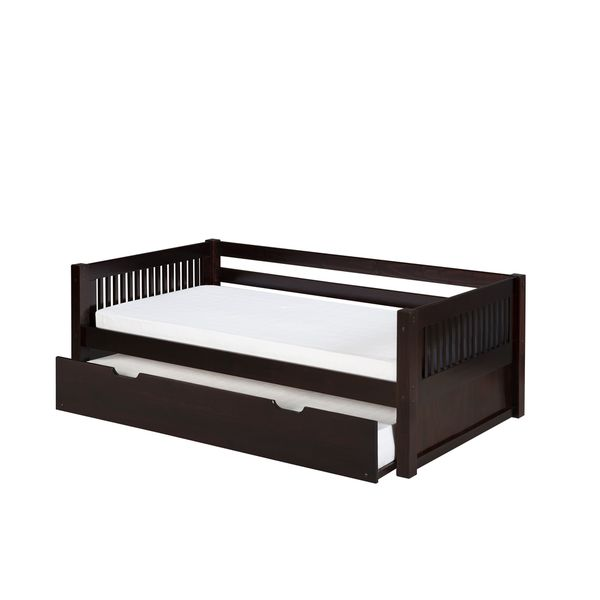 Camaflexi Twin-size Cappuccino Finish Day Bed with Twin Trundle and Mission Headboard