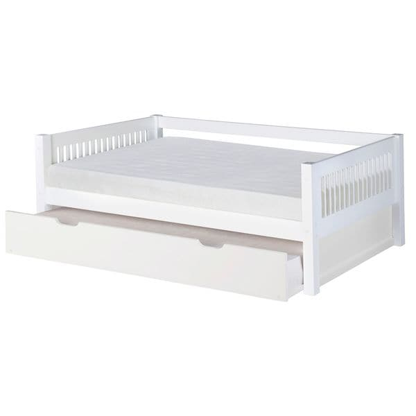Camaflexi Twin-size White Finish Day Bed with Twin Trundle and Mission Headboard