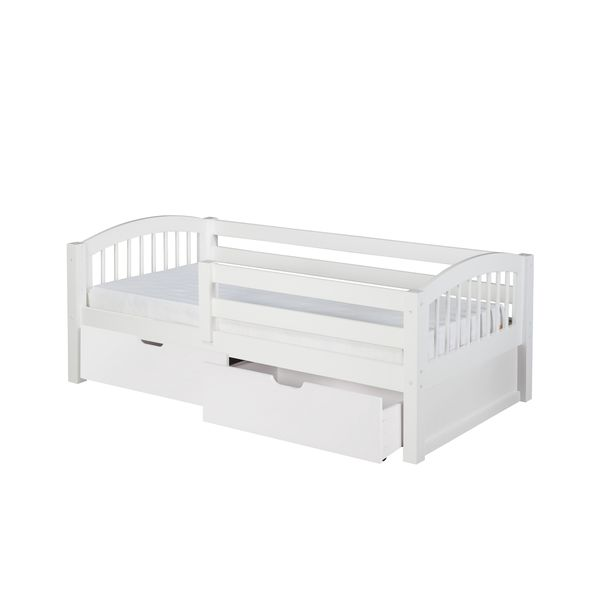 camaflexi twin size white finish day bed with front guard rail with drawers and arch spindle. Black Bedroom Furniture Sets. Home Design Ideas