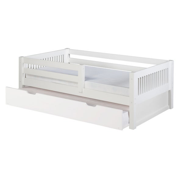 Camaflexi Twin-size White Finish Day Bed with Front Guard Rail with Trundle and Mission Headboard