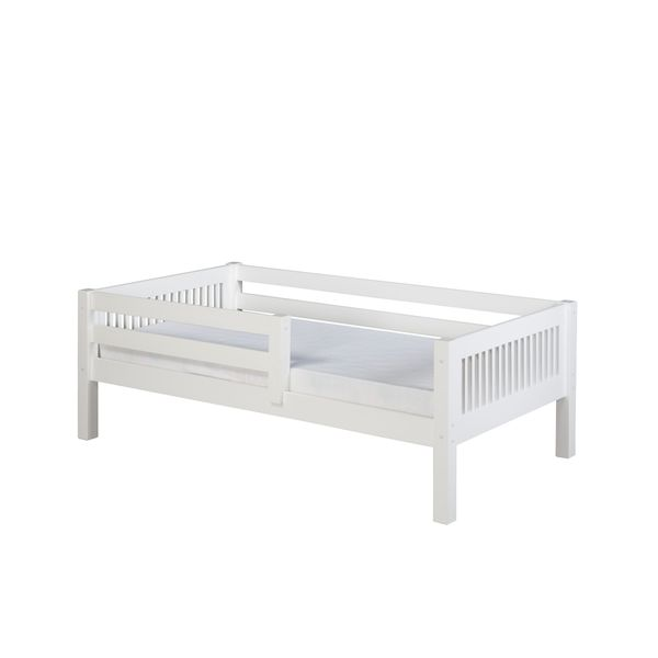 Camaflexi Twin-size White Finish Day Bed with Front Guard Rail and Mission Headboard