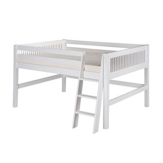Camaflexi Full-size White Finish Low Loft Bed with Mission Headboard