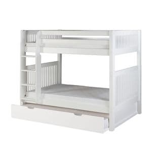 Camaflexi Twin-size White Finish Bunk Bed with Trundle and Mission Headboard