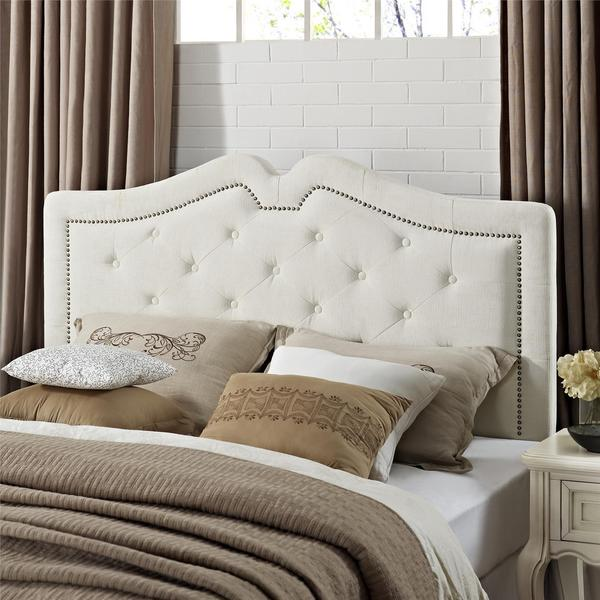 Dorel Living Alison Ivory Button-Tufted Sweetheart Headboard