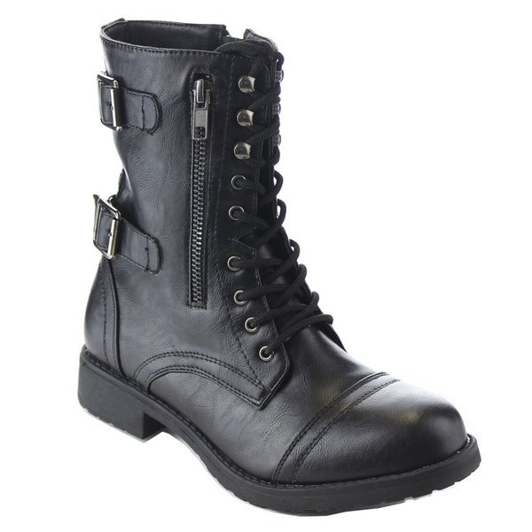 Beston AA77 Women's Lace Up Buckle Strap Side Zip Mid Calf Combat Boots