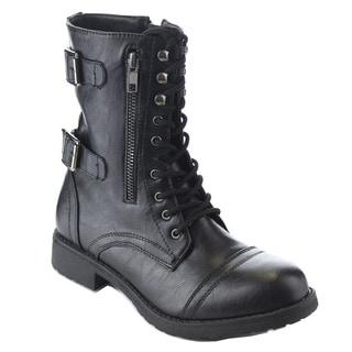 Beston AA77 Women's Lace Up Buckle Strap Side Zip Mid Calf Combat Boots