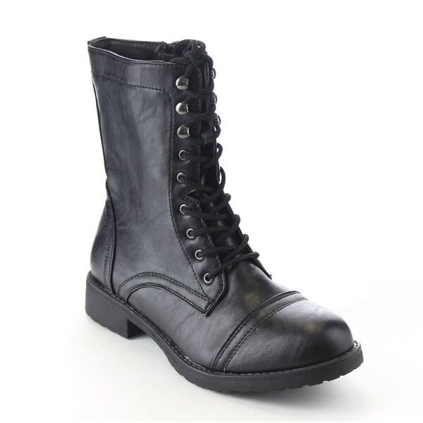 Beston Women's Lace Up Side Zip Low Chunky Heel Combat Boots