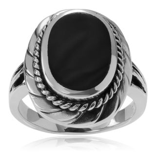 Journee Collection Sterling Silver Onyx Oval Ring